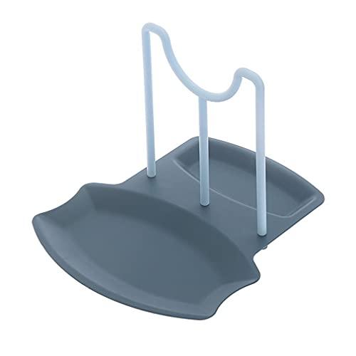 Soporte para tapa de cacerola, estante de soporte para cucharas, encimera de cocina no perforada, soporte de cuchara para cocina, tapa para ollas, soporte para cucharas (azul)
