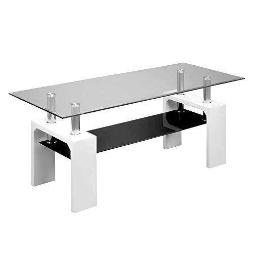 duehome - Mueble de TV Moderno para Salon, Mesa de Cristal, Estructura acabada en Color Blanco, Modelo Michigan, Medidas: 110 cm (Largo) x 48 cm (Alto) x 45 cm (Fondo)