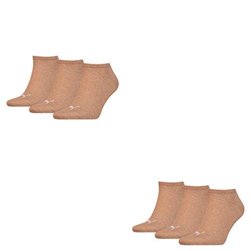 Puma 6 Paar Sneaker Invisible Socken Gr. 35-49 Unisex für Damen Herren Füßlinge, Socken & Strümpfe:39-42, Farbe:050 - beige mélange