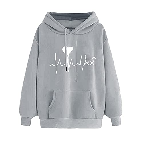 Uqiangy Womens Classic Hooded Sweatshirt Cute Print Hoodie Autumn Winter Casual Sport Pullover Tops With Pocket,M-XXXL (E-Grey, 14)