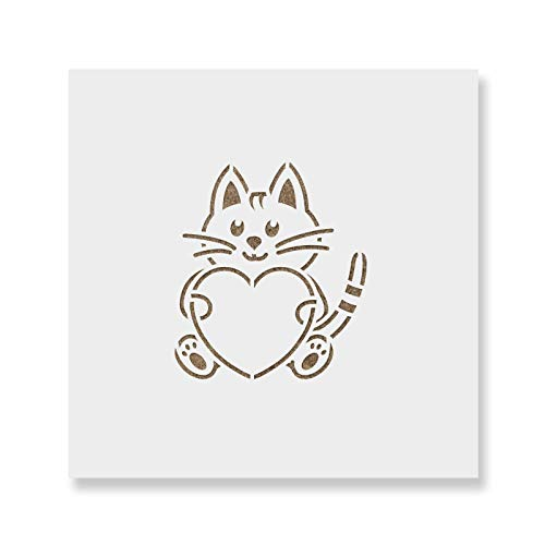 Heart Cat Cookie Stencil Template - Reusable & Durable Food Safe Stencils for Cookies and Baking