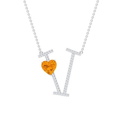 Collar de moissanita de 1/4 CT para mujer, collar en V, 7 mm creado en laboratorio, colgante de zafiro naranja naranja