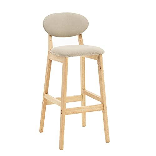 SYCARPET Home Sgabelli Alti da Bar, sgabelli da Bar Sedie da Pranzo con Gambe in Legno Seduta in Lino per Cucina, Sala da Pranzo e Soggiorno Mobili da Bar Moderni per la casa