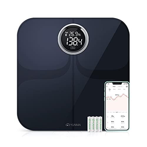 Báscula de Baño Inteligente Digital de Alta Medición Precisa, YUNMAI Premium Báscula Grasa Corporal Balanza Digital Baño con Bluetooth iOS Android App10 Funciones 16 usuario 180kg (Negro)