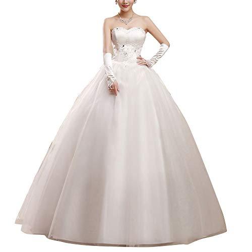 GELing Damen Bandeau Lang Abendkleid Ballkleid Abschlusskleid Prinzessin Hochzeitskleid Brautkleid Weiß XXL