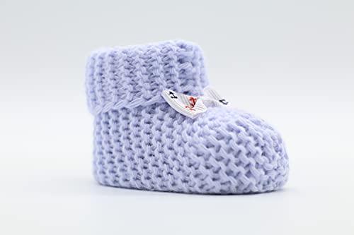Weiche Babyschuhe gestrickt, Babychucks Unisex Strickschuhe, warme gehäkelte Stricksocken für Neugeborene 0-6M (Hell-Blau)