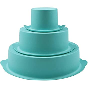 Webake Round Cake Pan Set Silicone Cake Molds Baking Pans for 3 Tier Cake Layer Tin 8 Inch 6 Inch 3 Inch for Birthday Wedding Anniversary Halloween Christmas Party