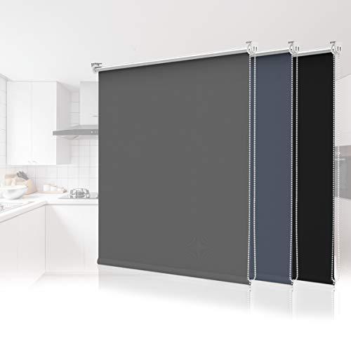 Estor opaco enrollable térmico, fijación sin agujeros, 90 x 130 cm, color gris oscuro, para ventanas y puertas