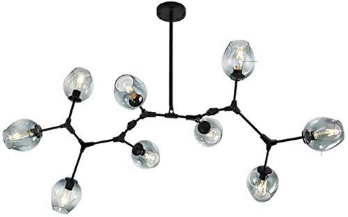 XY-M Sputnik E27 Leuchter-Beleuchtung, 6-Leuchten Kugel justierbare Metall Arm Glass Bubble Ball Kronleuchter, Kreativ-Anhänger Licht für Wohnzimmer Rauchgrau 6-Leuchten,Blau,9-Leuchten