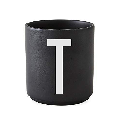 Design Letters Tasses personnalisées en Porcelaine A-Z (Noir) – T