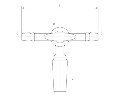 旭製作所 摺付三方コック�V型 オス ガラスコック 2458-5L
