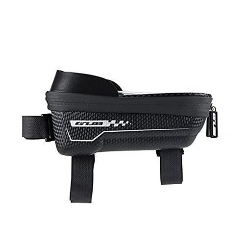 MiOYOOW Bolsa de teléfono para bicicleta, bolsa de marco frontal para bicicleta impermeable de 6.6 pulgadas con pantalla táctil para carretera y bicicleta de montaña MTB