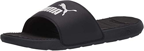 PUMA Cool Cat Slide Sandalia, Negro/Blanco, 11
