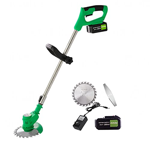Airbike 21V Electric Brush Cutter Grass Trimmer Brush Mower Grass Cutter Weed Wacker Cordless with Battery and Charger Blade No String Weed Wacker