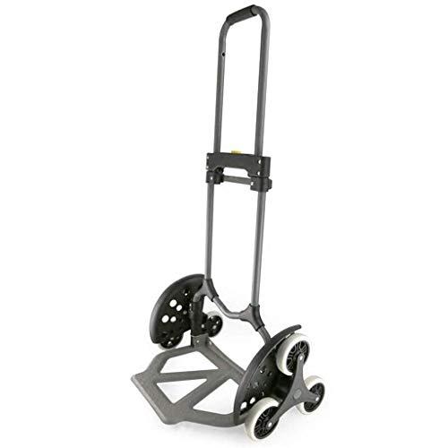 JINKEBIN Carrito de equipaje plegable portátil pequeño carro de remolque carro de la compra carro de tracción de mercancías carga móvil Mute Car plegable portátil 6 ruedas - Negro