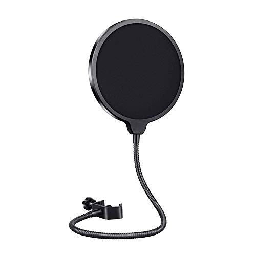 YUIP Mikrofon Popschutz Mikrofon Runde Form Wind Pop Filter mit Stand Clip, für Blue Yeti, MXL, Audio Technica und Andere Mikrofone Windschutz mit Flexiblem 360°-Hals und Verstellbarem Clip-Arm