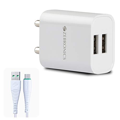 ZEBRONICS Zeb-MA5222 USB Charger Adapter with 1 Metre Micro USB Cable, 2 USB Ports, for Mobile Phone/Tablets (White) (ZEB-MA5222(White)