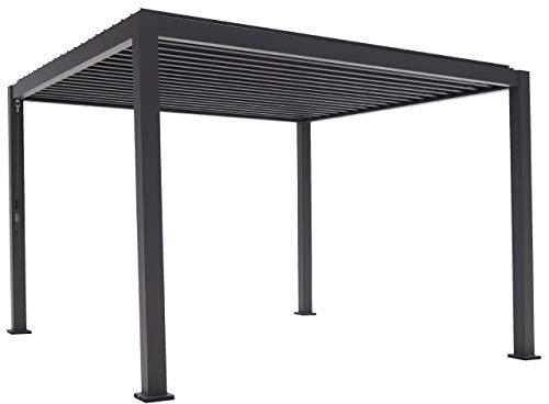 SORARA Mirador Classic Pavillon 3 x 4 m Wasserdicht - Pergola mit Lamellendach - Aluminium/Stahl terrassenüberdachung - Schwarz