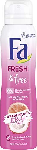 FA Deospray Fresh & Free Grapefruit- & Litschi-Duft ohne Aluminium und Alkohol, 6er Pack (6 x 150 ml)
