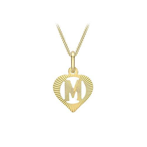 Carissima Gold Collar con Colgante Corazón con Inicial 'M' (Corte Diamante) para Mujer - Cadena Grumet en Oro Amarillo 9K (375) - 46 cm
