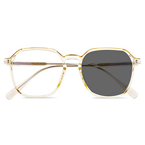 ACXZ Photochromic Sunglasses Progressive Multifocal Sun Reading Glasses, Ladies Trendy Oversized Reader Eyeglasses, Champagne, Black, Green, Transparent White, 2.5