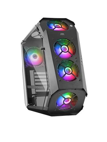 MARSGAMING Mars Gaming MC51, Boîtier de Jeu PC ATX, Double Verre Trempé, 5X Ventilateur 12cm RGB, Noir