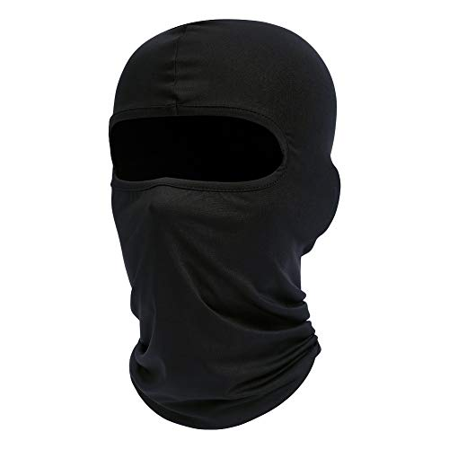 fuinloth Balaclava Face Mask, Summer Cooling Neck Gaiter, UV Protector Motorcycle Ski Scarf for Men/Women Black