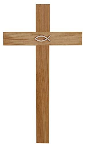 Kaltner Präsente Geschenkidee - Kreuz Wandkreuz Kruzifix aus Eiche Holz 35 cm mit Fisch Symbol für Wand