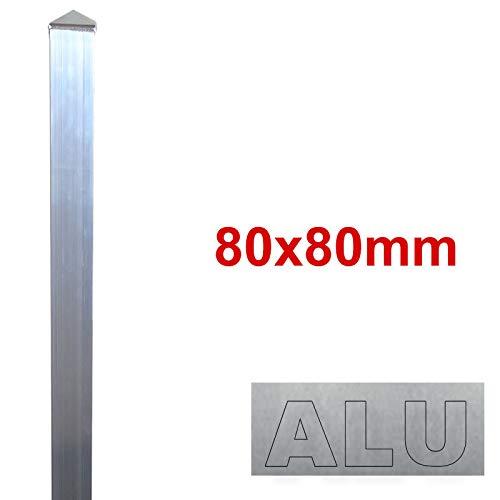 BAUER - Alu Zaun- Torpfosten zum Einbetonieren, 80x80x3mm, L = 1300mm