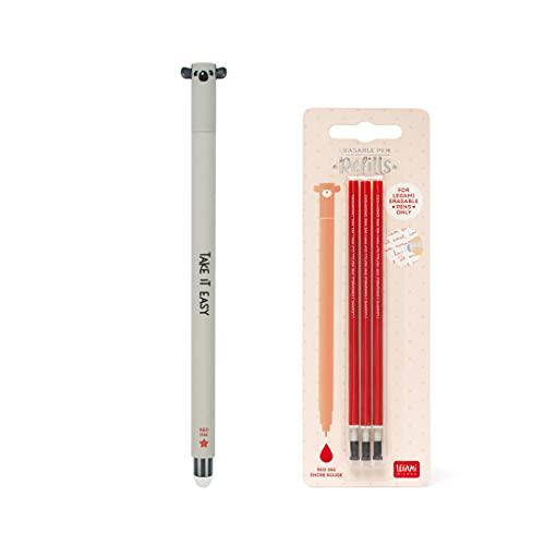 Koala - Bolígrafo de gel borrable de tinta roja + Kit de 3 recambios de recambio rojo Legami para niña