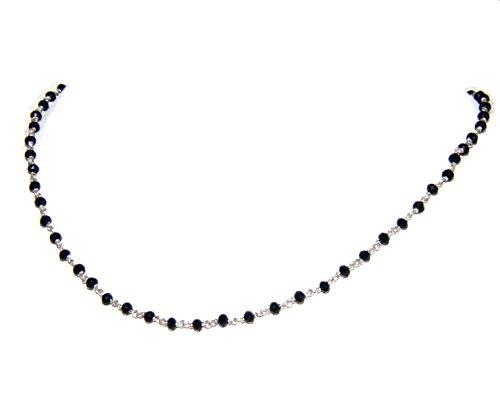 NALBORI marsigliesi collana uomo donna Argento 925 Con cristallo nero 3/3,5 mm tipo rosario (Collana 40 + 5 cm)