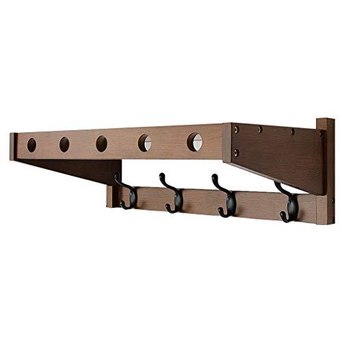 AJZGF Moderner Wand-Garderobenständer mit 4 runden Haken - Hochfeste, robuste Stahlkonstruktion, Oberfläche aus gebürstetem Edelstahl, extrem einfache Montage, rost- und wasserabweisend Regal