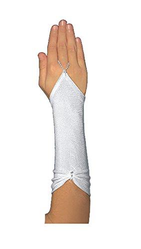 YES Fingerlose Kommunionhandschuhe Handschuhe zur Kommunion, Strasssteinchen, Mädchen KA-34 lang