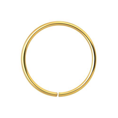 Monster Piercing 14K Yellow Gold 22 Gauge - 7MM Diameter Seamless Continuous Nose Hoop Ring