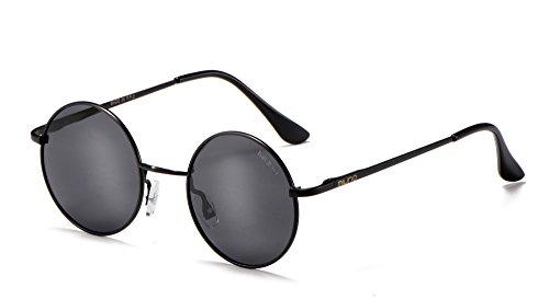 Miuno® Sonnenbrille mit runden Gläsern UV400 Herren Damen mit Etui Nickelbrille Federscharnier 8088 (Gestell:Mattschwarz/Glässer:schwarz)