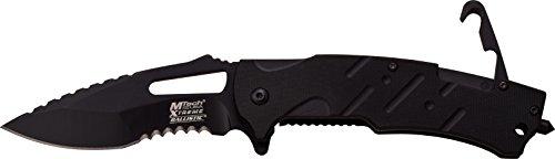 MTech USA Xtreme Couteau de Poche Noir G10 poignée avec Crochet de Sauvetage escamotable en Taille couler cm : 12,065, mtec de 1131