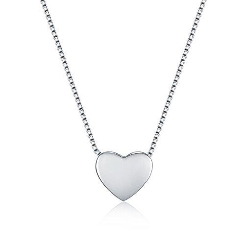 Wristchie Collana lunga 45,7 cm, con piccolo ciondolo a forma di cuore, in argento Sterling 925 e Argento, colore: Silver Color, cod. M-XL012