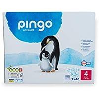 Pingo - Pañales Talla 4 Maxi - 2 paquetes de 40 unidades-7-18 kg -Pañales para bebé - Anti-alergénicos sin perfume - Máxima Absorción - Pañales ecológicos - Pieles sensibles - Color Blanco