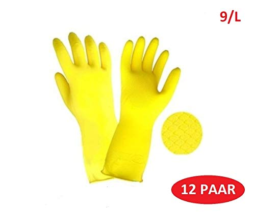 M-Glove 12 Paar Schutzhandschuhe aus Nylon mit Polyurethan Beschichtung Handschuhe ®Auto-schmuck (Gummihandschuhe 9/L)