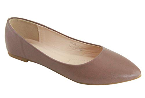 Bella Marie Angie-53 Women's Classic Pointy Toe Ballet Flat Shoes (8.5, Taupe-pu52)
