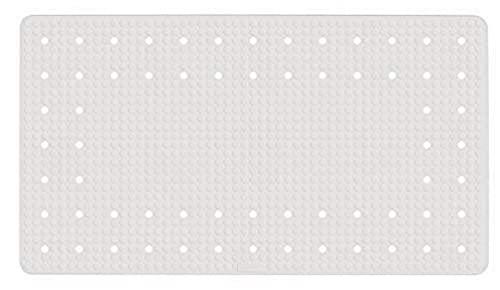 WENKO Wanneneinlage Mirasol, Antirutsch-Badewannenmatte mit Saugnäpfen, Matte mit dekorativem Loch-Muster für alle gängigen Badewannen, aus umweltfreundlichem, hochwertigem Kautschuk, 69 x 39 cm, Weiß