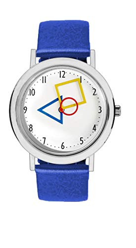 Aristo Unisex Bauhaus Quarz-Uhr RGB | Bauhaus Feat. Mondrian | Lederarmbanduhr | 100 Jahre Bauhaus (blau)
