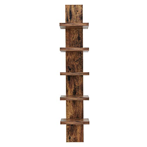 Danya B 5 Tier Wall Shelf Unit Narrow Light Brown Finish - Vertical Column Shelf Floating Storage Home Decor Organizer Tall Tower Design Utility Shelving Bedroom Living Room (Brown)