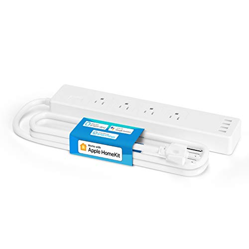meross Smart Power Strip Compatible with Apple HomeKit, Siri, Alexa, Google Home and SmartThings, WiFi Surge Protector with 4 AC Outlets, 4 USB Ports and 6ft Extension Cord, Voice and Remote Control