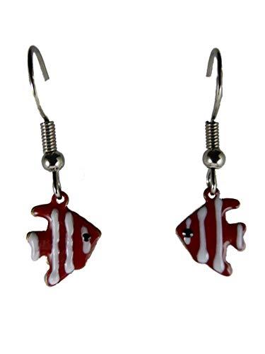 Ohrringe Hänger Ohrhänger Fisch Meer Aquarium Skalar weiß/rot Haustier Tier 13.593