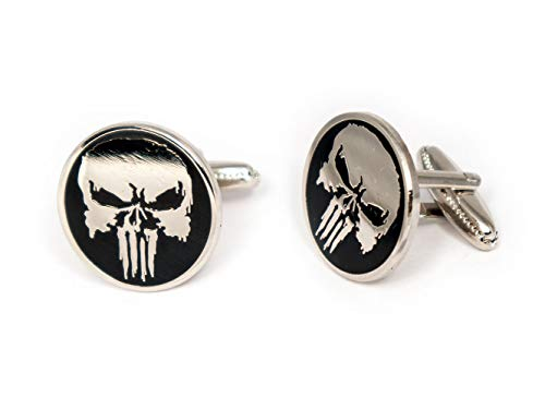 SharedImagination The Punisher Cufflinks, Marvel Defenders Tie Clip, Dare Devil Jewelry, The Avengers Ironman Tie Tack Geek Gifts, Skull Logo Daredevil Cuff Links Wedding Party Groomsmen Gift