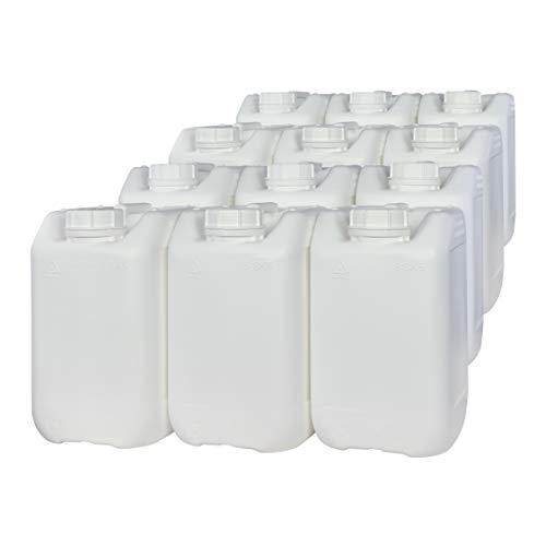 Bidón Garrafa Plástico 5 litros Blanco apilable. Apta para uso alimentario. Homologación para transporte. (12 Unidades).