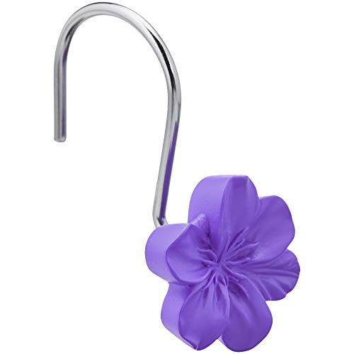 AmazonBasics - Ganchos para cortina de ducha, flor, morado