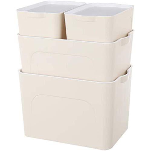 Liapianyun Sin Tapa De Almacenamiento Caja-Set, Oficina De Caja De Plástico Cosméticos Archivos Adecuados para Los Libros Documentos Juguetes Pequeños,Beige