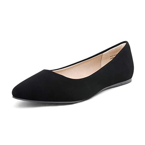 DREAM PAIRS Sole Classic Women s Casual Pointed Toe Ballet Comfort Soft Slip On Flats Shoes Black Nubuck Size 7.5
